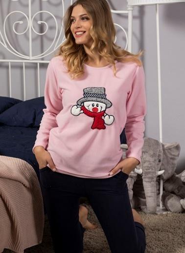 Strawberry Welsoft Nakışlı Ultrasoft Polar Pijama Takımı Pembe